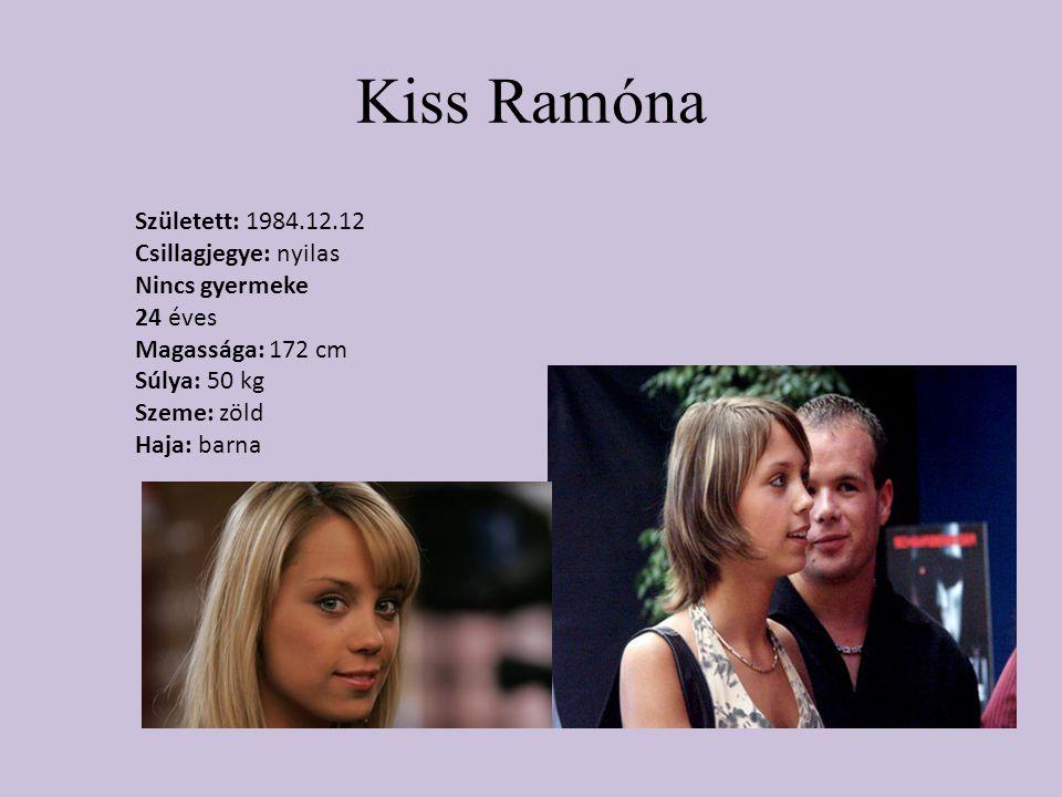 Kiss Ramóna Született: 1984.12.12 Csillagjegye: nyilas Nincs gyermeke 24 éves Magassága: 172 cm Súlya: 50 kg Szeme: zöld Haja: barna