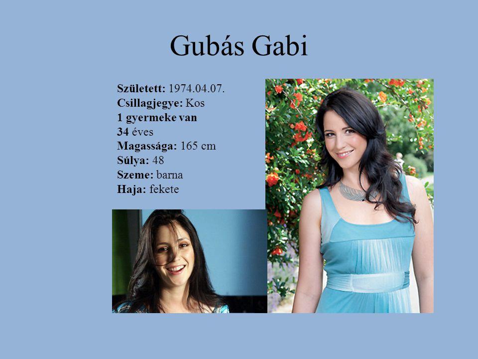 Gubás Gabi Született: 1974.04.07. Csillagjegye: Kos 1 gyermeke van 34 éves Magassága: 165 cm Súlya: 48 Szeme: barna Haja: fekete