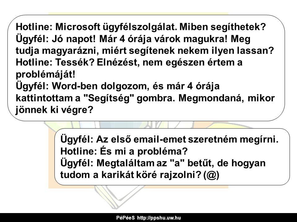 Hotline: Microsoft ügyfélszolgálat. Miben segíthetek? Ügyfél: Jó napot! Már 4 órája várok magukra! Meg tudja magyarázni, miért segítenek nekem ilyen l