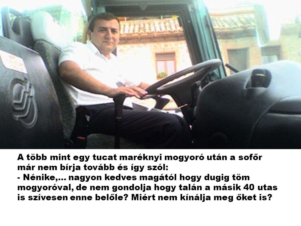 A több mint egy tucat maréknyi mogyoró után a sofőr már nem bírja tovább és így szól: - Nénike,...