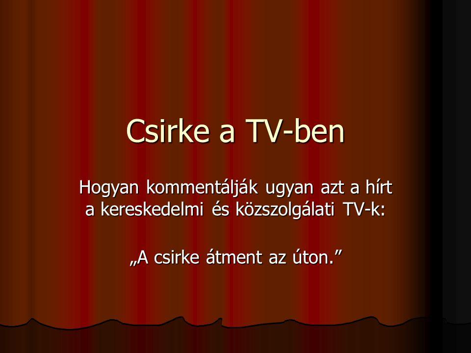 """Csirke a TV-ben Hogyan kommentálják ugyan azt a hírt a kereskedelmi és közszolgálati TV-k: """"A csirke átment az úton."""