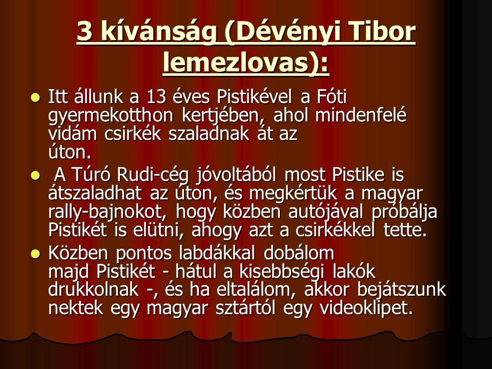 3 kívánság (Dévényi Tibor lemezlovas): Itt állunk a 13 éves Pistikével a Fóti gyermekotthon kertjében, ahol mindenfelé vidám csirkék szaladnak át az úton.