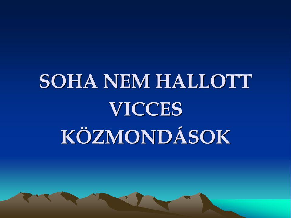 SOHA NEM HALLOTT VICCES KÖZMONDÁSOK