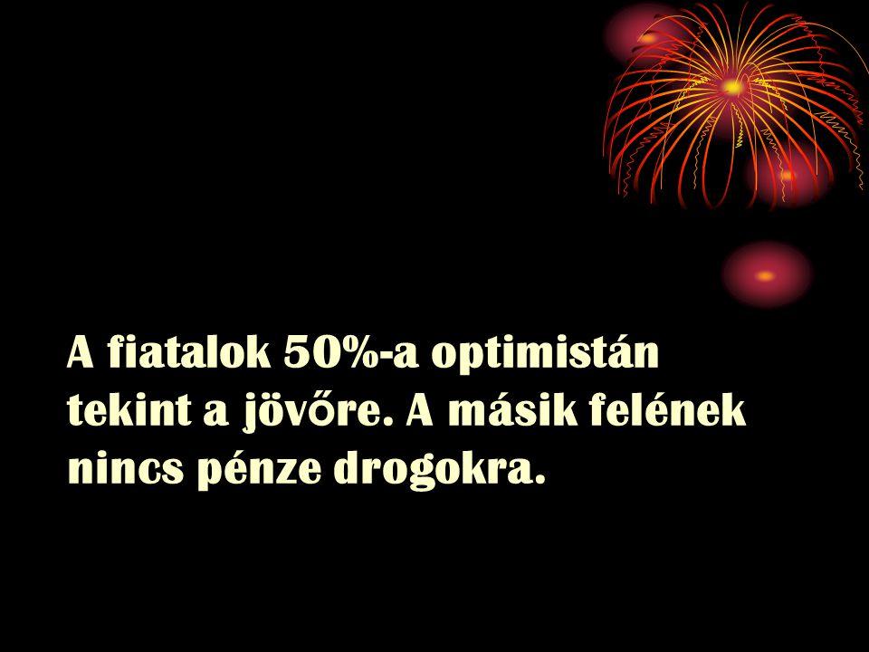 A fiatalok 50%-a optimistán tekint a jöv ő re. A másik felének nincs pénze drogokra.