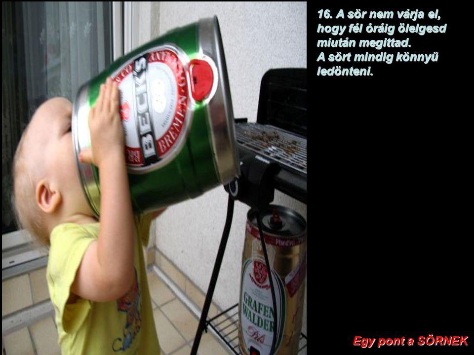 15. A sörnek nincs anyja. Két pont a SÖRNEK Két pont a SÖRNEK