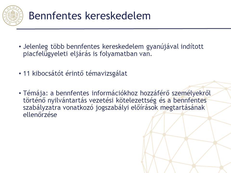 Bennfentes kereskedelem Jelenleg több bennfentes kereskedelem gyanújával indított piacfelügyeleti eljárás is folyamatban van. 11 kibocsátót érintő tém
