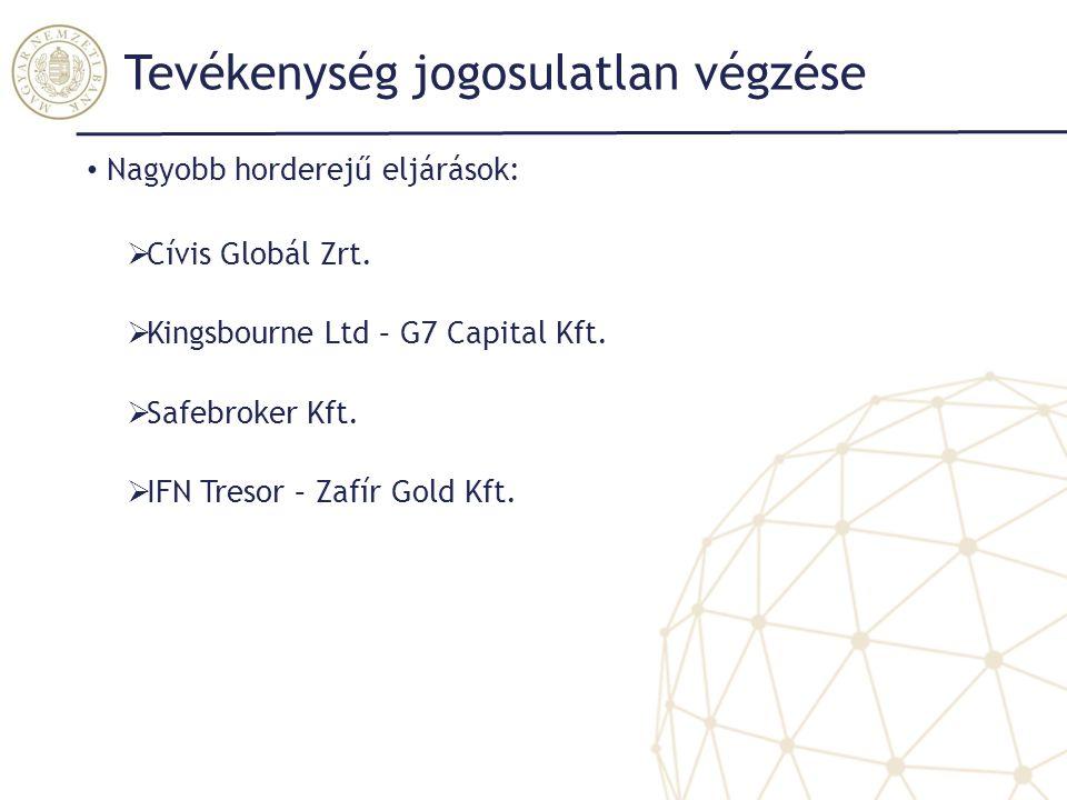 Tevékenység jogosulatlan végzése Nagyobb horderejű eljárások:  Cívis Globál Zrt.  Kingsbourne Ltd – G7 Capital Kft.  Safebroker Kft.  IFN Tresor –