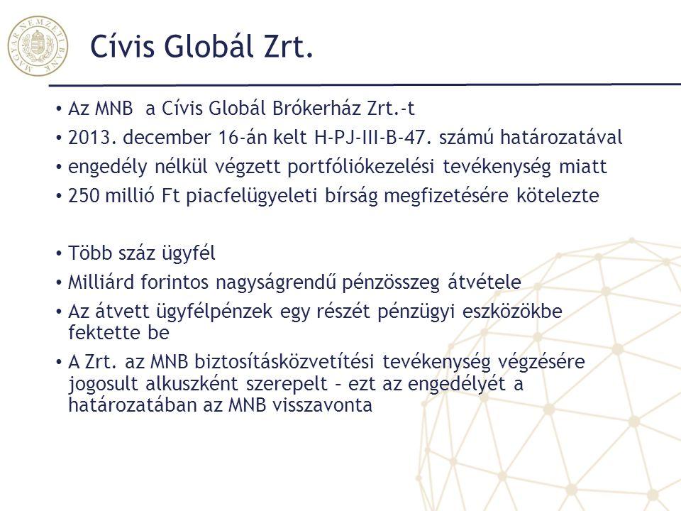 Cívis Globál Zrt. Az MNB a Cívis Globál Brókerház Zrt.-t 2013. december 16-án kelt H-PJ-III-B-47. számú határozatával engedély nélkül végzett portfóli