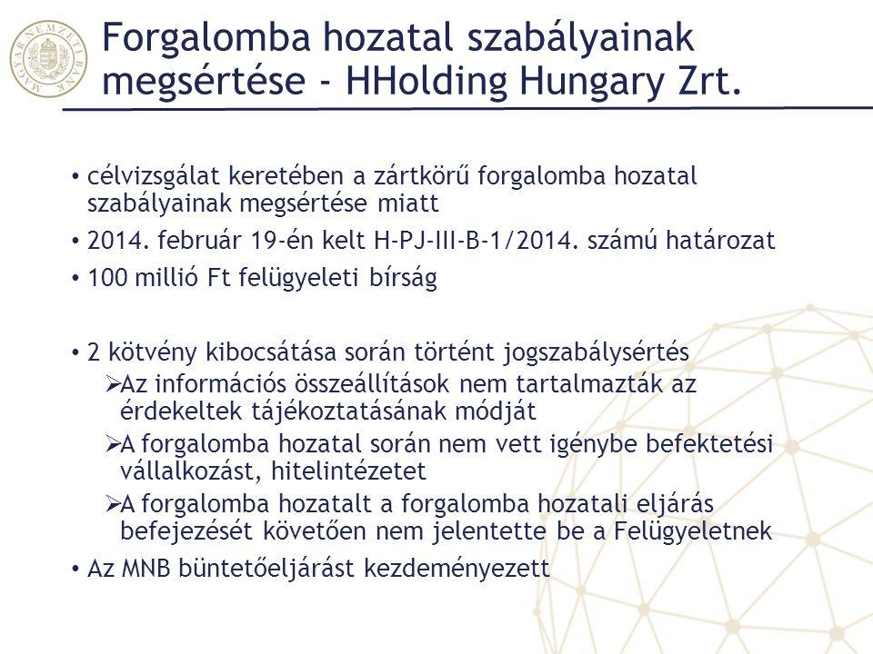 Forgalomba hozatal szabályainak megsértése - HHolding Hungary Zrt. célvizsgálat keretében a zártkörű forgalomba hozatal szabályainak megsértése miatt