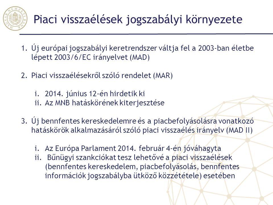 Piaci visszaélések jogszabályi környezete 1.Új európai jogszabályi keretrendszer váltja fel a 2003-ban életbe lépett 2003/6/EC irányelvet (MAD) 2.Piac