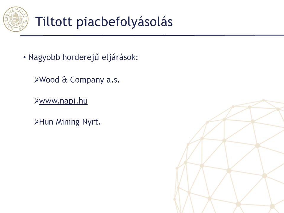 Tiltott piacbefolyásolás Nagyobb horderejű eljárások:  Wood & Company a.s.  www.napi.hu www.napi.hu  Hun Mining Nyrt.