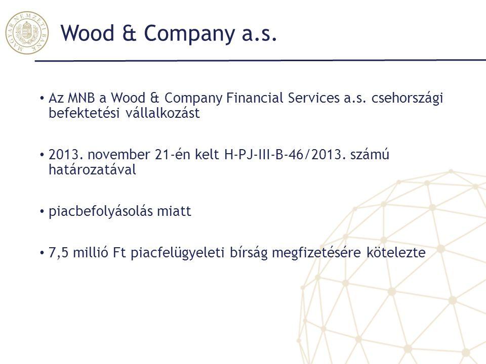 Wood & Company a.s. Az MNB a Wood & Company Financial Services a.s. csehországi befektetési vállalkozást 2013. november 21-én kelt H-PJ-III-B-46/2013.