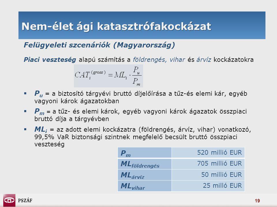 19 Nem-élet ági katasztrófakockázat Felügyeleti szcenáriók (Magyarország) Piaci veszteség alapú számítás a földrengés, vihar és árvíz kockázatokra  P