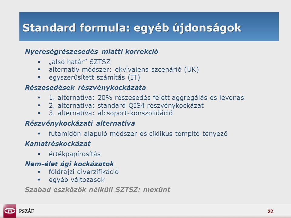 """22 Standard formula: egyéb újdonságok Nyereségrészesedés miatti korrekció  """"alsó határ"""" SZTSZ  alternatív módszer: ekvivalens szcenárió (UK)  egysz"""