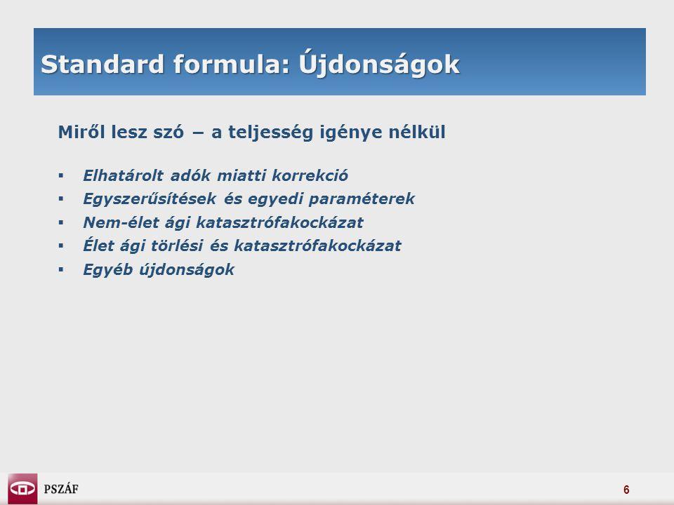 27 Minimális tőkeszükséglet Lineáris formula: teszteredmények a QIS3 adatain MTSZ-SZTSZ arány biztosítónként (élet)