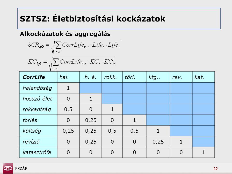 22 SZTSZ: Életbiztosítási kockázatok Alkockázatok és aggregálás CorrLifehal.h.