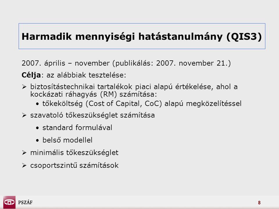 8 Harmadik mennyiségi hatástanulmány (QIS3) 2007. április – november (publikálás: 2007.