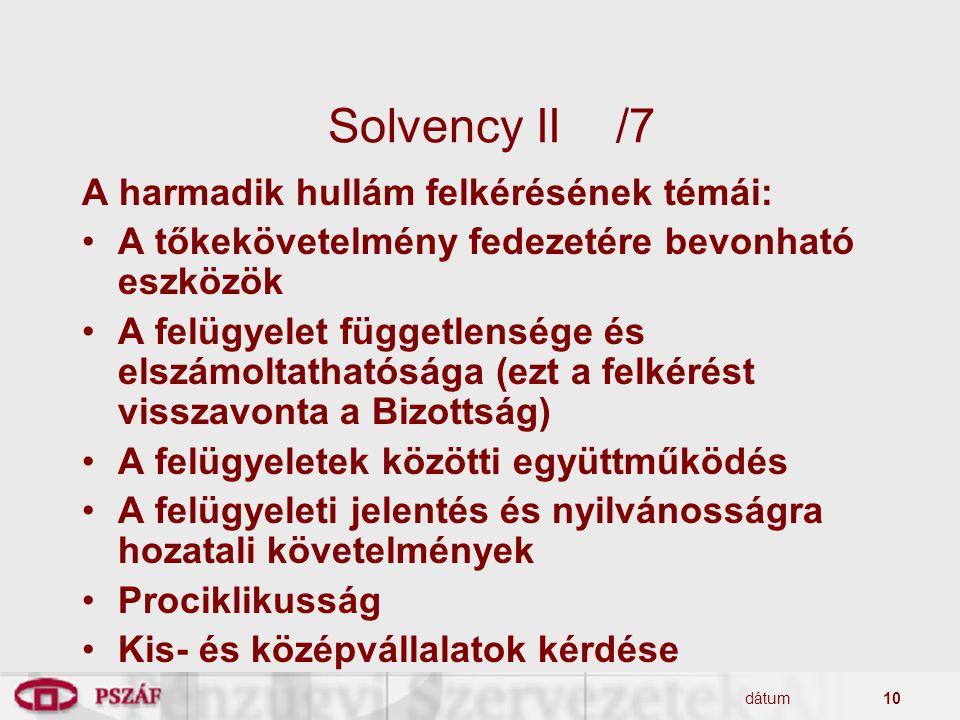 dátum10 Solvency II/7 A harmadik hullám felkérésének témái: A tőkekövetelmény fedezetére bevonható eszközök A felügyelet függetlensége és elszámoltath