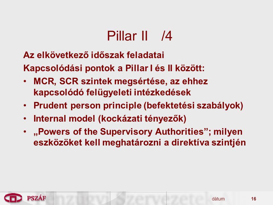 dátum16 Pillar II/4 Az elkövetkező időszak feladatai Kapcsolódási pontok a Pillar I és II között: MCR, SCR szintek megsértése, az ehhez kapcsolódó fel
