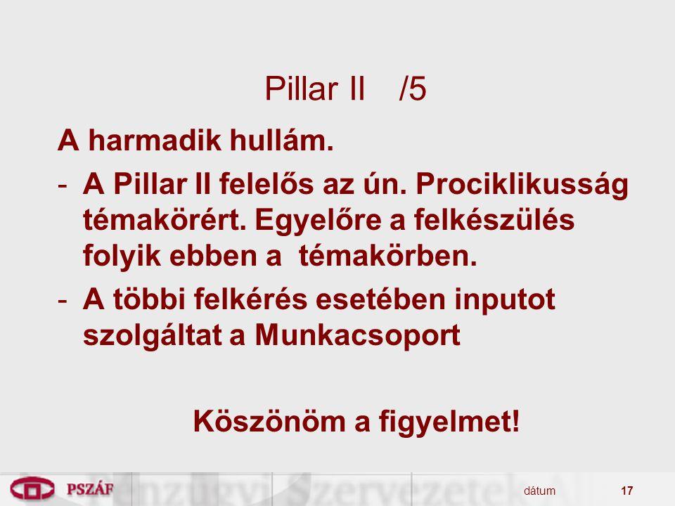 dátum17 Pillar II/5 A harmadik hullám. -A Pillar II felelős az ún. Prociklikusság témakörért. Egyelőre a felkészülés folyik ebben a témakörben. -A töb