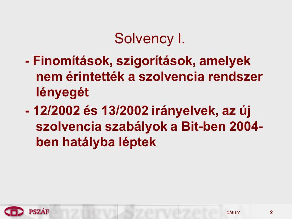 dátum2 Solvency I. - Finomítások, szigorítások, amelyek nem érintették a szolvencia rendszer lényegét - 12/2002 és 13/2002 irányelvek, az új szolvenci