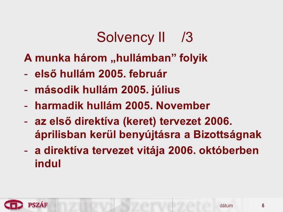 """dátum5 Solvency II/3 A munka három """"hullámban"""" folyik -első hullám 2005. február -második hullám 2005. július -harmadik hullám 2005. November -az első"""
