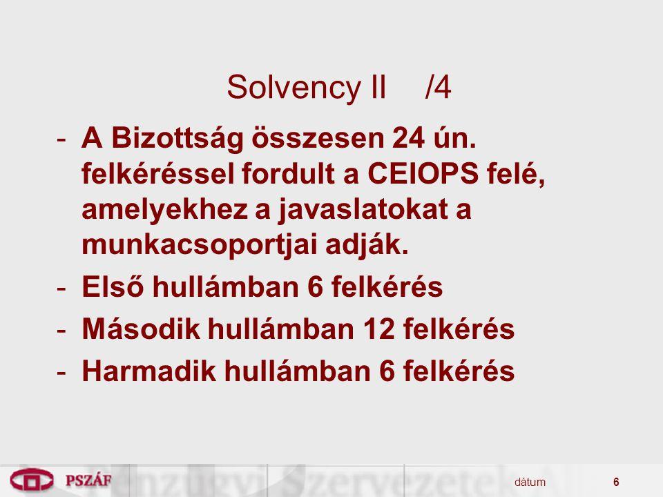 dátum6 Solvency II/4 -A Bizottság összesen 24 ún. felkéréssel fordult a CEIOPS felé, amelyekhez a javaslatokat a munkacsoportjai adják. -Első hullámba