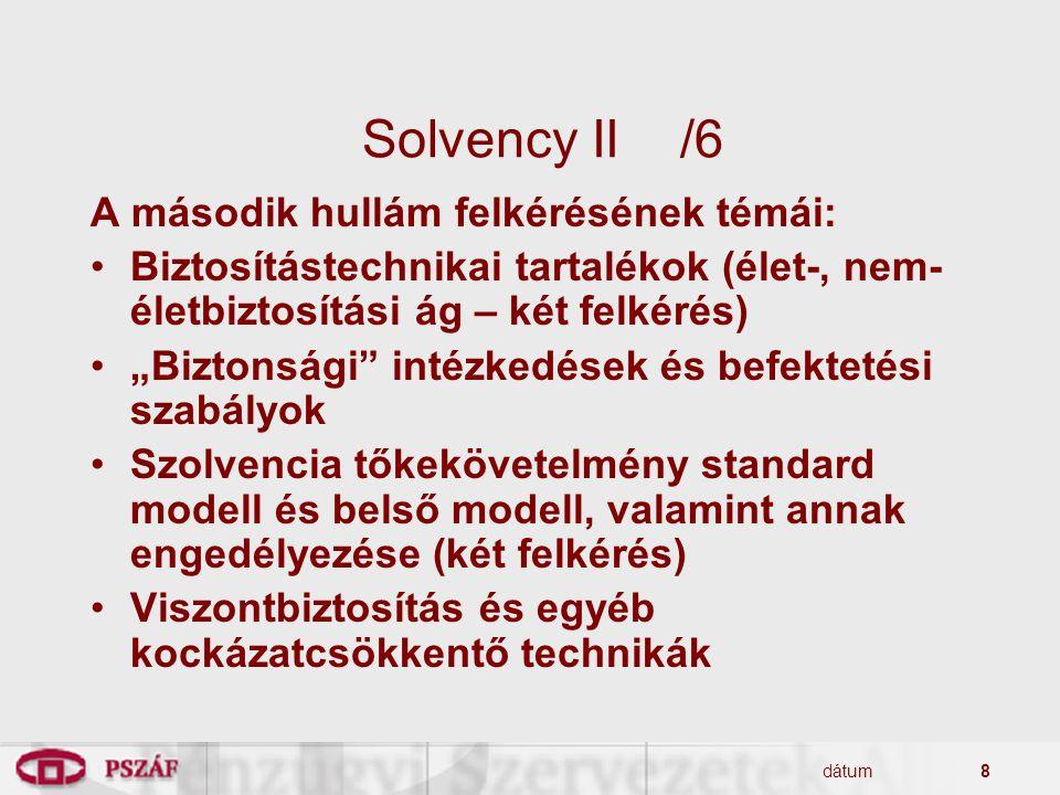 """dátum8 Solvency II/6 A második hullám felkérésének témái: Biztosítástechnikai tartalékok (élet-, nem- életbiztosítási ág – két felkérés) """"Biztonsági"""""""