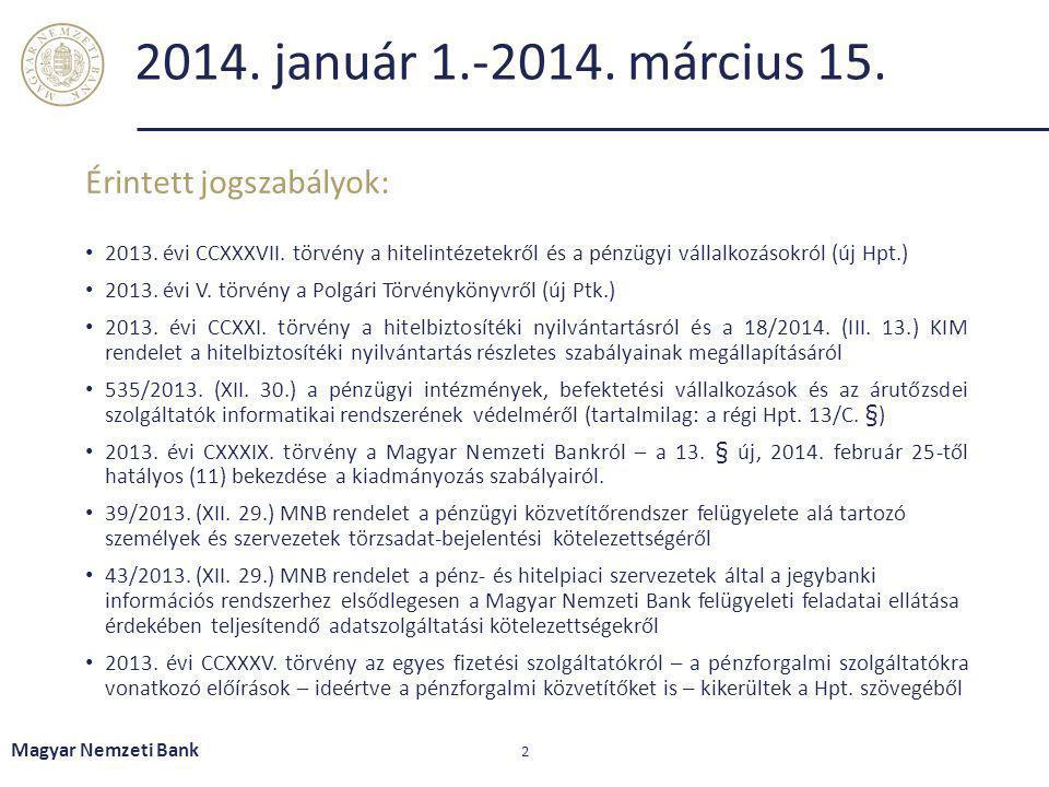 2014. január 1.-2014. március 15. 2013. évi CCXXXVII. törvény a hitelintézetekről és a pénzügyi vállalkozásokról (új Hpt.) 2013. évi V. törvény a Polg