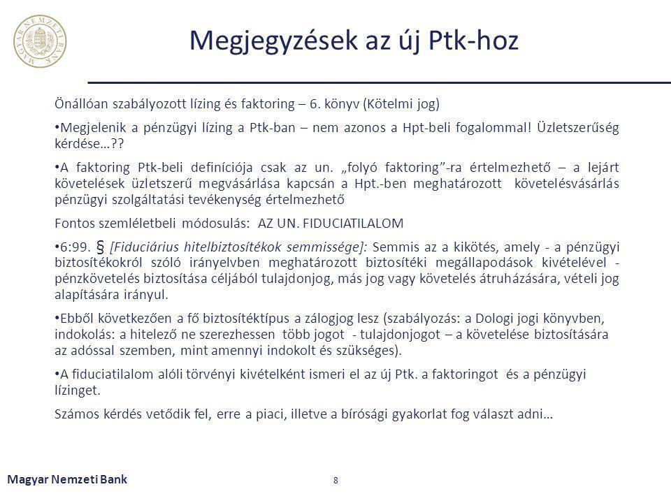 Megjegyzések az új Ptk-hoz Önállóan szabályozott lízing és faktoring – 6. könyv (Kötelmi jog) Megjelenik a pénzügyi lízing a Ptk-ban – nem azonos a Hp