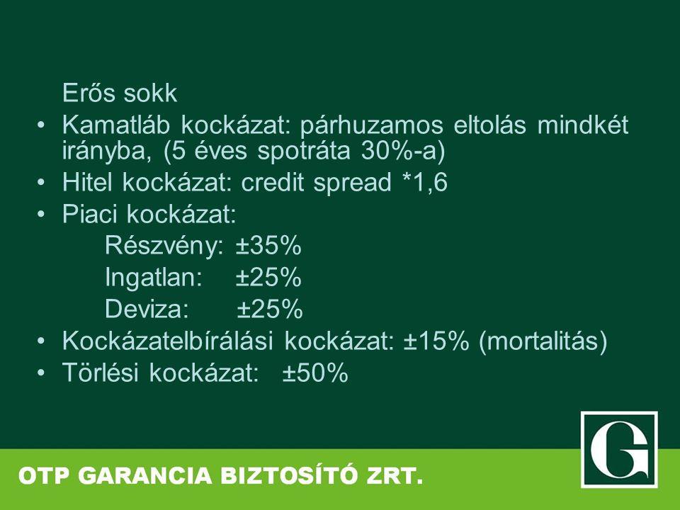 Erős sokk Kamatláb kockázat: párhuzamos eltolás mindkét irányba, (5 éves spotráta 30%-a) Hitel kockázat: credit spread *1,6 Piaci kockázat: Részvény: