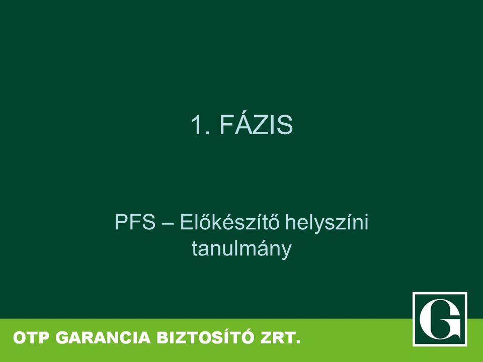1. FÁZIS PFS – Előkészítő helyszíni tanulmány