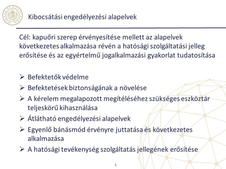 Kibocsátási engedélyezési alapelvek Cél: kapuőri szerep érvényesítése mellett az alapelvek következetes alkalmazása révén a hatósági szolgáltatási jel
