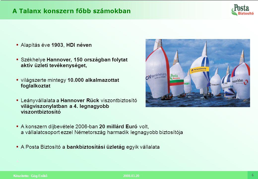 2008.03.20 Készítette: Góg Enikő 6  Alapítás éve 1903, HDI néven  Székhelye Hannover, 150 országban folytat aktív üzleti tevékenységet,  világszert