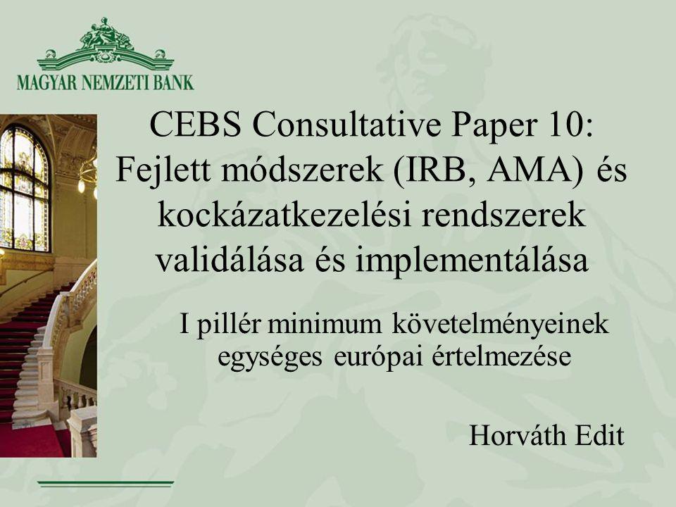 CEBS Consultative Paper 10: Fejlett módszerek (IRB, AMA) és kockázatkezelési rendszerek validálása és implementálása I pillér minimum követelményeinek egységes európai értelmezése Horváth Edit
