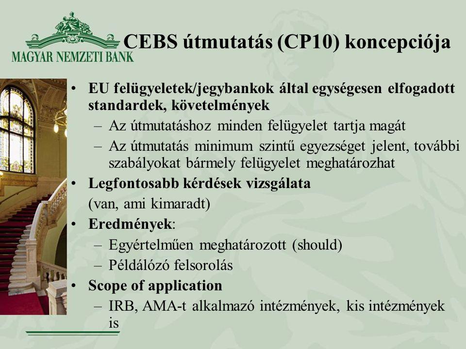 CEBS útmutatás (CP10) koncepciója EU felügyeletek/jegybankok által egységesen elfogadott standardek, követelmények –Az útmutatáshoz minden felügyelet tartja magát –Az útmutatás minimum szintű egyezséget jelent, további szabályokat bármely felügyelet meghatározhat Legfontosabb kérdések vizsgálata (van, ami kimaradt) Eredmények: –Egyértelműen meghatározott (should) –Példálózó felsorolás Scope of application –IRB, AMA-t alkalmazó intézmények, kis intézmények is