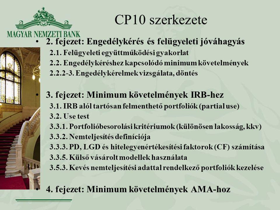 CP10 szerkezete 2.fejezet: Engedélykérés és felügyeleti jóváhagyás 2.1.