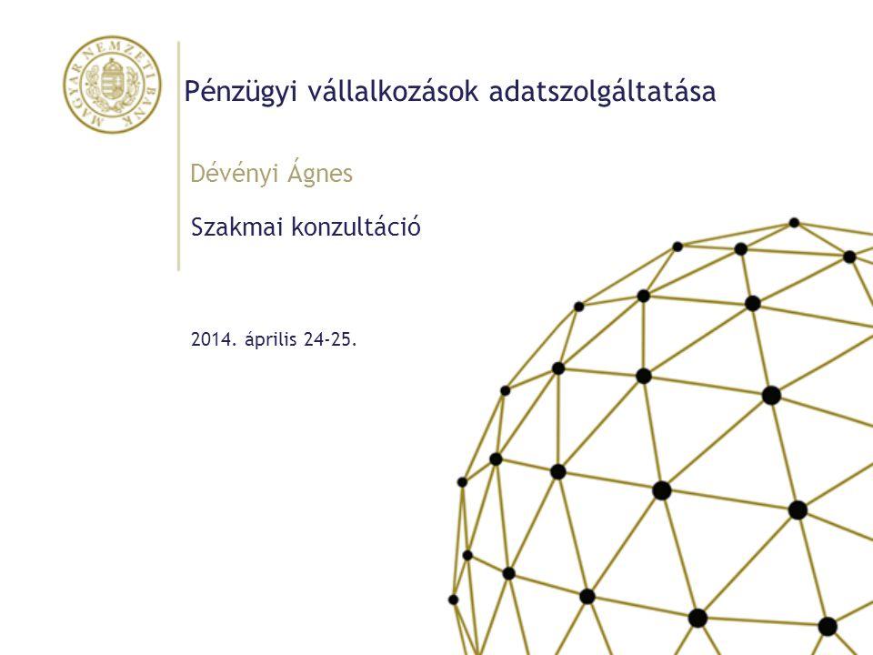Pénzügyi vállalkozások adatszolgáltatása Szakmai konzultáció Dévényi Ágnes 2014. április 24-25.