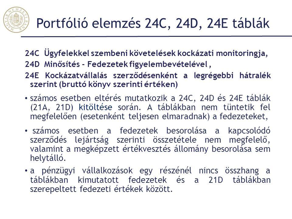 Portfólió elemzés 24C, 24D, 24E táblák 24C Ügyfelekkel szembeni követelések kockázati monitoringja, 24D Minősítés - Fedezetek figyelembevételével, 24E Kockázatvállalás szerződésenként a legrégebbi hátralék szerint (bruttó könyv szerinti értéken) számos esetben eltérés mutatkozik a 24C, 24D és 24E táblák (21A, 21D) kitöltése során.