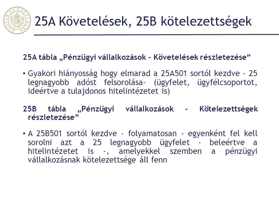 """25A Követelések, 25B kötelezettségek 25A tábla """"Pénzügyi vállalkozások - Követelések részletezése Gyakori hiányosság hogy elmarad a 25A501 sortól kezdve - 25 legnagyobb adóst felsorolása- (ügyfelet, ügyfélcsoportot, ideértve a tulajdonos hitelintézetet is) 25B tábla """"Pénzügyi vállalkozások - Kötelezettségek részletezése A 25B501 sortól kezdve - folyamatosan - egyenként fel kell sorolni azt a 25 legnagyobb ügyfelet - beleértve a hitelintézetet is -, amelyekkel szemben a pénzügyi vállalkozásnak kötelezettsége áll fenn"""