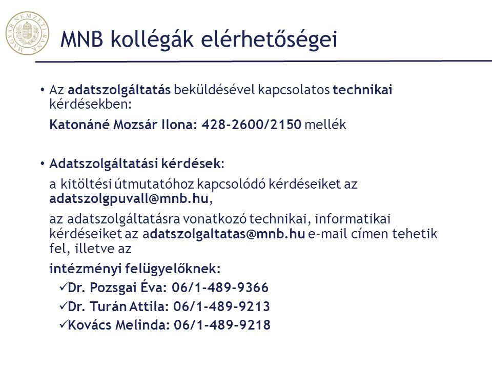 MNB kollégák elérhetőségei Az adatszolgáltatás beküldésével kapcsolatos technikai kérdésekben: Katonáné Mozsár Ilona: 428-2600/2150 mellék Adatszolgáltatási kérdések: a kitöltési útmutatóhoz kapcsolódó kérdéseiket az adatszolgpuvall@mnb.hu, az adatszolgáltatásra vonatkozó technikai, informatikai kérdéseiket az adatszolgaltatas@mnb.hu e-mail címen tehetik fel, illetve az intézményi felügyelőknek: Dr.