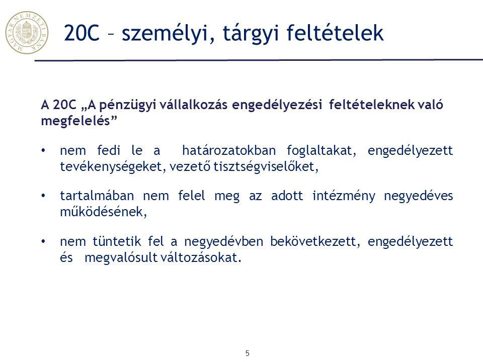 """20C – személyi, tárgyi feltételek 5 A 20C """"A pénzügyi vállalkozás engedélyezési feltételeknek való megfelelés nem fedi le a határozatokban foglaltakat, engedélyezett tevékenységeket, vezető tisztségviselőket, tartalmában nem felel meg az adott intézmény negyedéves működésének, nem tüntetik fel a negyedévben bekövetkezett, engedélyezett és megvalósult változásokat."""