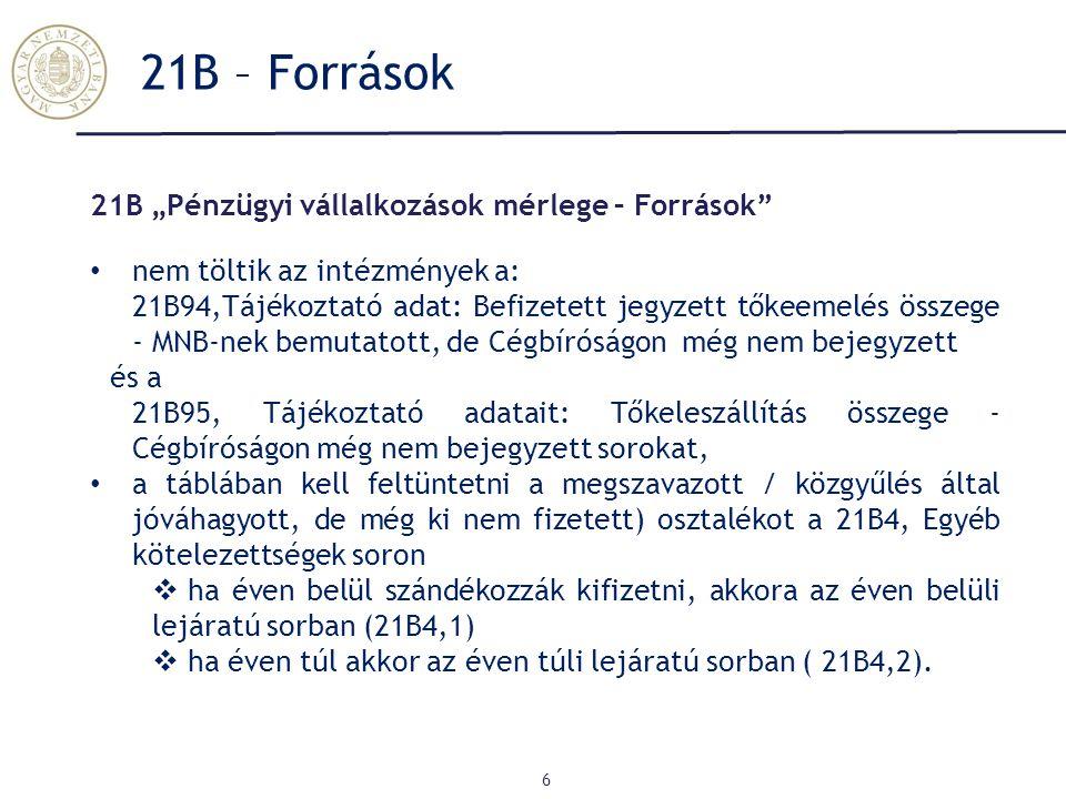 """21B – Források 6 21B """"Pénzügyi vállalkozások mérlege – Források nem töltik az intézmények a: 21B94,Tájékoztató adat: Befizetett jegyzett tőkeemelés összege - MNB-nek bemutatott, de Cégbíróságon még nem bejegyzett és a 21B95, Tájékoztató adatait: Tőkeleszállítás összege - Cégbíróságon még nem bejegyzett sorokat, a táblában kell feltüntetni a megszavazott / közgyűlés által jóváhagyott, de még ki nem fizetett) osztalékot a 21B4, Egyéb kötelezettségek soron  ha éven belül szándékozzák kifizetni, akkora az éven belüli lejáratú sorban (21B4,1)  ha éven túl akkor az éven túli lejáratú sorban ( 21B4,2)."""