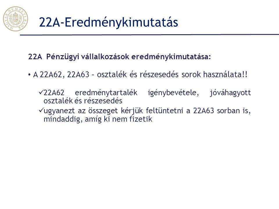 22A-Eredménykimutatás 22A Pénzügyi vállalkozások eredménykimutatása: A 22A62, 22A63 – osztalék és részesedés sorok használata!.