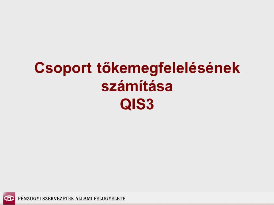 Csoport tőkemegfelelésének számítása QIS3