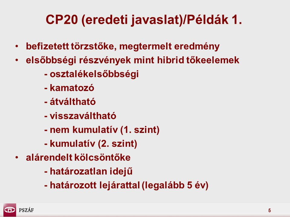 5 CP20 (eredeti javaslat)/Példák 1.