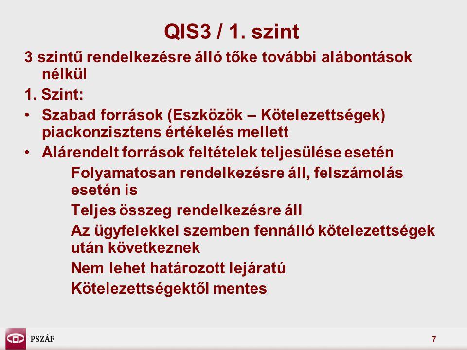 7 QIS3 / 1. szint 3 szintű rendelkezésre álló tőke további alábontások nélkül 1.
