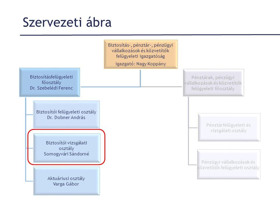 Szervezeti ábra Biztosítás-, pénztár-, pénzügyi vállalkozások és közvetítők felügyeleti igazgatóság igazgató: Nagy Koppány Biztosításfelügyeleti főosz