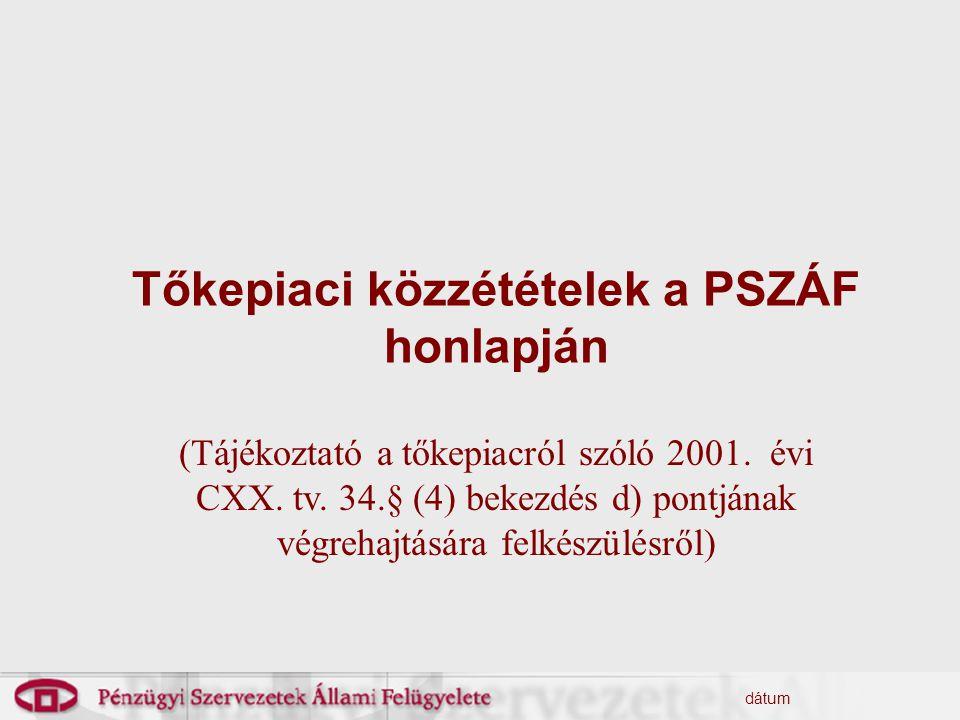 dátum Tőkepiaci közzétételek a PSZÁF honlapján (Tájékoztató a tőkepiacról szóló 2001.