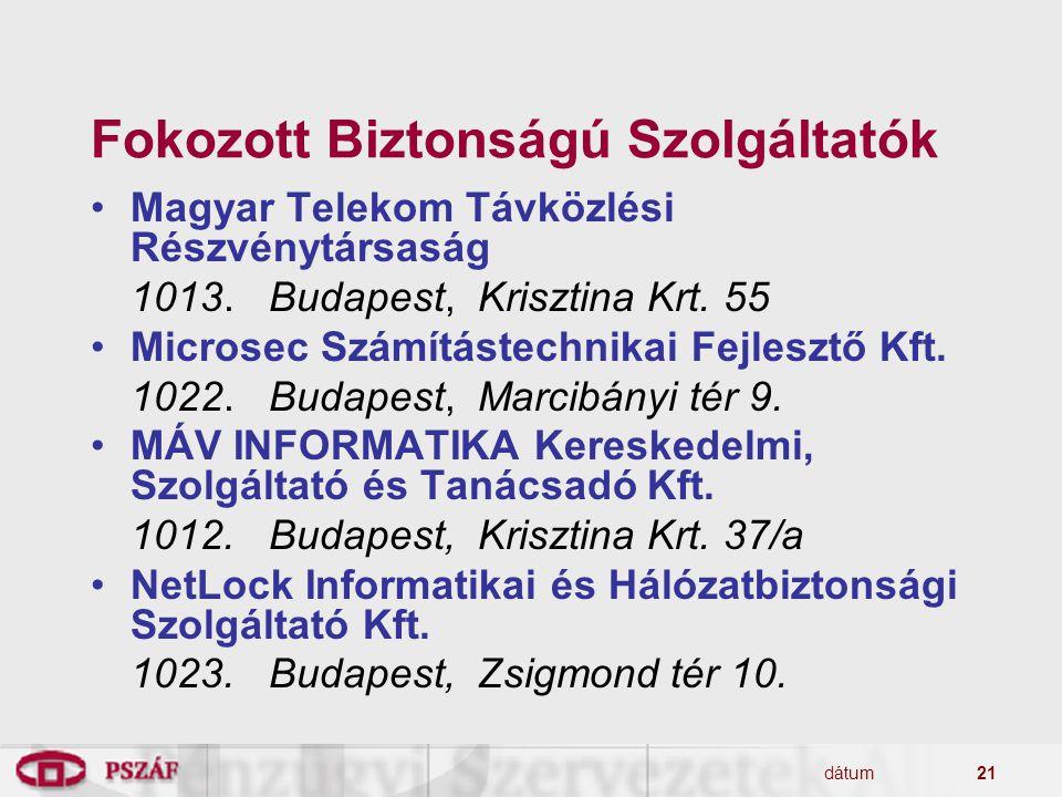 dátum21 Fokozott Biztonságú Szolgáltatók Magyar Telekom Távközlési Részvénytársaság 1013. Budapest, Krisztina Krt. 55 Microsec Számítástechnikai Fejle